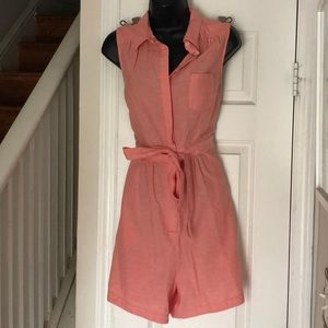 NWT Anthropologie Coral Linen Romper